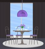 Interior design of the dining room with gray furniture and purple accents. Served table. Vector flat illustration. Vector illustration. Painted in shape vector illustration