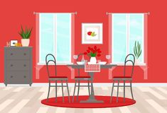 Interior design of the dining room with gray furniture and red accents. Served table. Vector flat illustration. Vector illustration. Painted in shape royalty free illustration