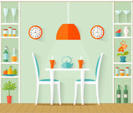 Interior design of the dining room. Vector illustration. Vector interior dining room. The design of cafe, bistro, restaurant or dining area in the house in the Royalty Free Stock Images
