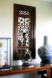 Interior design - display. Display cabinet with vases and statue Royalty Free Stock Images