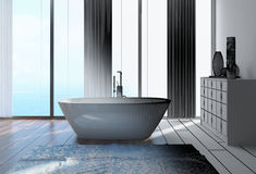 interior design domestico architettonico del bagno 3D Fotografie Stock Libere da Diritti