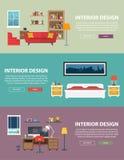 Interior design domestico per il letto ed i salotti Fotografia Stock