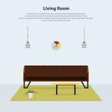 Interior design domestico Salone moderno con il sofà di cuoio marrone Vettore Fotografie Stock