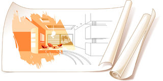Interior Design Drawings. Of A House Illustration Stock Photo
