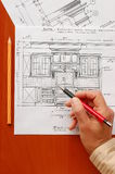 Interior design drawings Stock Image