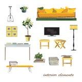 Interior design elements illustration. furniture collection. Pas Stock Photos