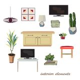 Interior design elements illustration. furniture collection. Pas Royalty Free Stock Images