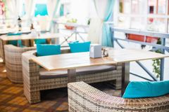 Interior design of empty outdoor restaurant. At the daylight Stock Image