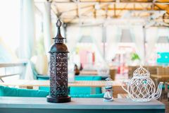 Interior design of empty outdoor restaurant. At the daylight Royalty Free Stock Photography