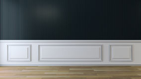 Interior design empty room ,black wall and white frame, 3d render Stock Images