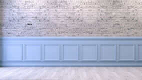 Interior design empty room ,white brick wall and blue frame, 3d render Royalty Free Stock Photo