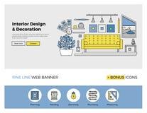 Interior design flat line banner Stock Photos