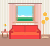 Interior design in flat style of living room with furniture, sofa, flower, lamp and window. Royalty Free Stock Photo