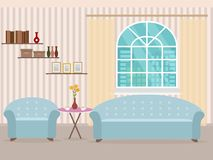Interior design in flat style of living room with furniture, sofa, table, bookshelf, flower, armchair and window. Royalty Free Stock Photography