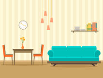 Interior design in flat style of living room with furniture, sofa, , table, bookshelf, flower, lamp and clock. Vector illustration stock illustration