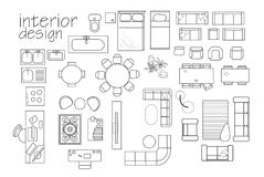 `interior design floor plan symbols. top view furniture. cad symbol. Vector furniture collection. project. architectural technical drawing. home decor royalty free illustration