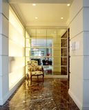 Interior design - foyer area. Foyer area with alabaster light feature and mirror Royalty Free Stock Image