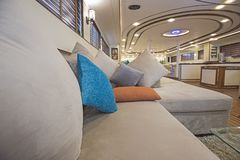 Interior of large salon area of luxury motor yacht Royalty Free Stock Images