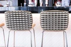 Modern bar stool in a luxury restaurant. Interior design, furniture decor and nightlife concept - Modern bar stool in a luxury restaurant stock photo