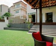Interior design - garden. Garden with gazebo and chairs Royalty Free Stock Photo