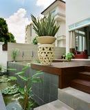 Interior design - garden. Garden with plants and vase stock image