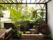 Interior design - garden. Exterior garden and pond at balcony royalty free stock photography