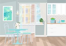 Interior design of gray kitchen. Exit to the balcony from the kitchen. The layout of the kitchen in the apartment. Vector illustration. Painted in shape royalty free illustration