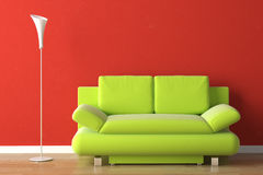 Interior design green couch on red Royalty Free Stock Image