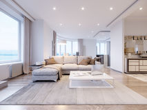 Interior design grigio bianco moderno del salone Immagine Stock