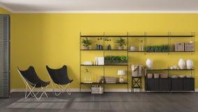 Interior design grigio e giallo con lo scaffale per libri di legno, v diy di Eco immagini stock