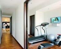 Interior design - gym. Corridor and gym room with tv set Stock Photos