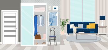 Interior design of the hallway. Vector flat illustration. Vector illustration. Painted in shape stock illustration