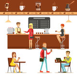 Interior Design And Happy Clients Of A Coffee Shop Set Of Illustrations Royalty Free Stock Photo