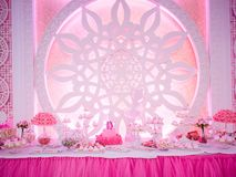 Interior design for the holiday in pink stock photography