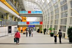 Interior design of Hong Kong international airport. The picture shows the walkway in the  Hong Kong international Airport.  The walkway connects Terminal 1 and Stock Photography