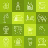 Interior design and house appliances lineart minimal vector iconset on multicolor checkered texture royalty free illustration