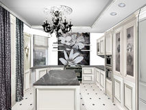 Private Home design interior . Classic style kitchen Royalty Free Stock Image