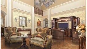 Private Home project design interior. Classic style. Stock Photo