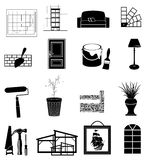 Interior design icons set Royalty Free Stock Photo