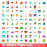 100 interior design icons set, cartoon style. 100 interior design icons set in cartoon style for any design illustration Stock Image