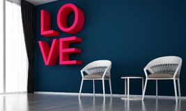 The interior design idea of living room and love logo and blue  wall texture wall pattern. 3d rendering interior design concept idea of lounge and living room Royalty Free Stock Image