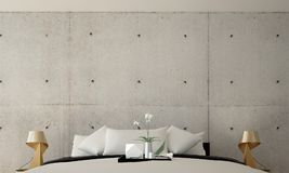 The interior design idea of modern bedroom and concrete wall texture background. The 3D rendering interior design idea of bedroom Royalty Free Stock Photos