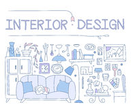 Interior design, improved interior, apartment, housing. graphic image concept, website elements. Linear style hand-drawn Stock Photography