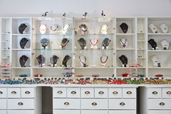 Interior design of jewelry store. With product presentation displays royalty free stock images