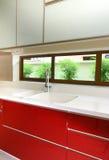 Interior design - Kitchen. Modern kitchen design with high gloss spay paint kitchen cabinet doors Stock Image