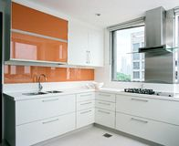 Interior design - kitchen. Wet kitchen with wall hung units Stock Photos