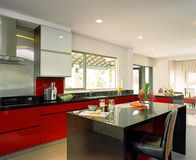 Interior design - kitchen. Dry kitchen with bar counter Stock Image