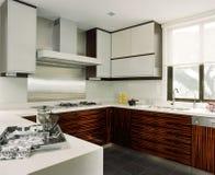 Interior design - kitchen. Dry kitchen with white corian top Stock Photos