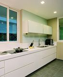 Interior design - kitchen. Dry kitchen with white cabinets Royalty Free Stock Photo