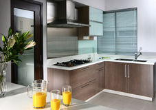 Interior design - kitchen. Dry kitchen with bar counter Royalty Free Stock Photography